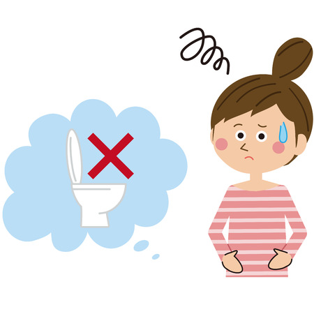 woman troubled with constipation Illustration