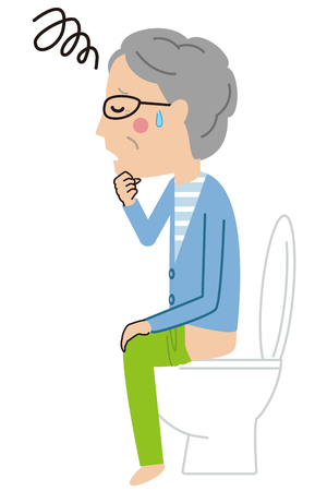 senior man suffers from constipation