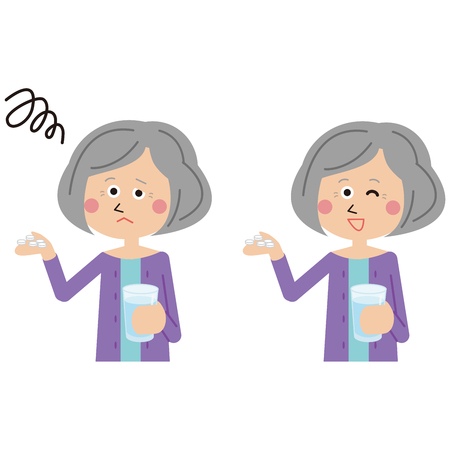 senior woman takes medicine positive and negative