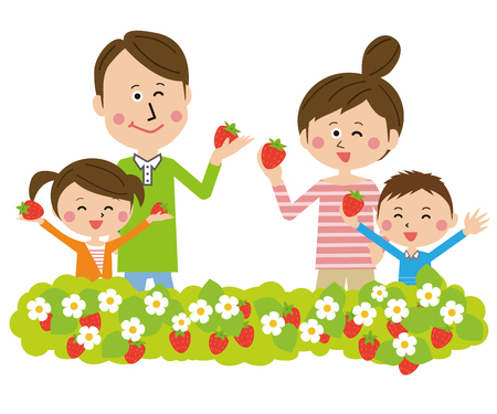 family strawberry hunting