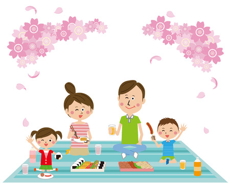 family lunch at a spot of cherry blossom viewing