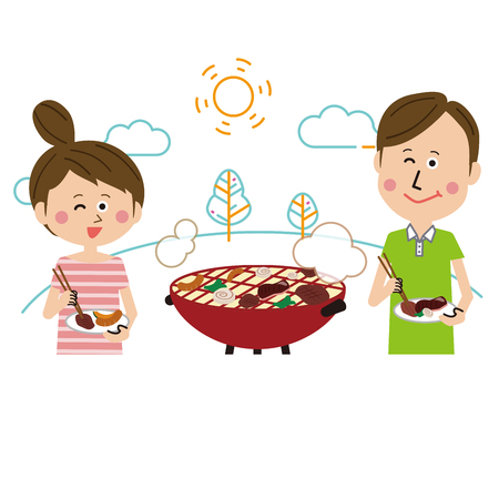 couple fun barbecue line drawing background Иллюстрация