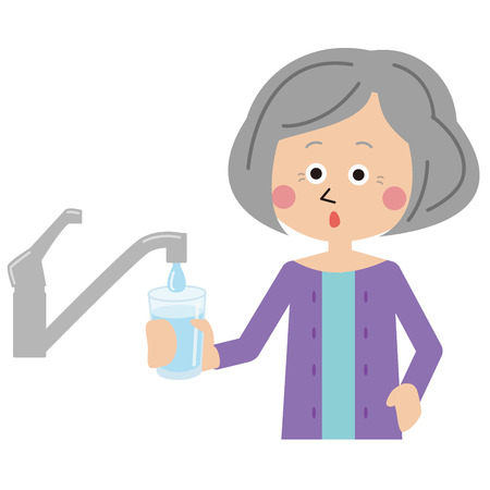Grandma Drinking Water With tap Water