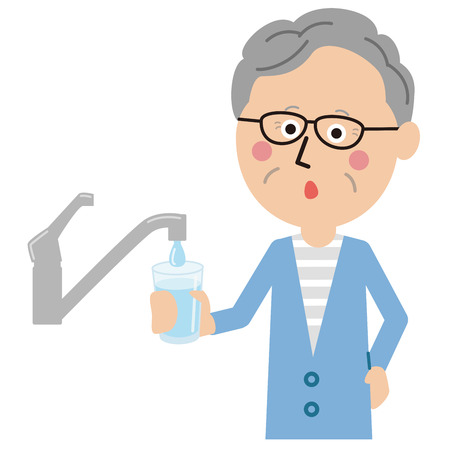 grandpa with tap water Illustration