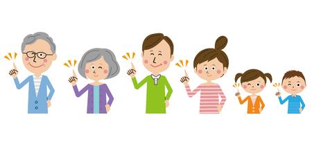 3 generation family pointing hand Ilustração