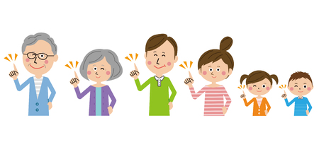 3 generation family pointing hand Illustration