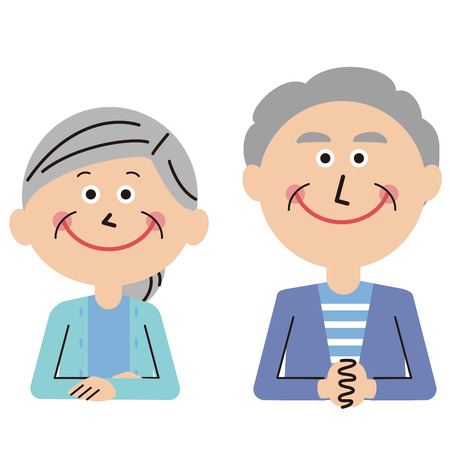 senior couple upper body sitting front to face  イラスト・ベクター素材
