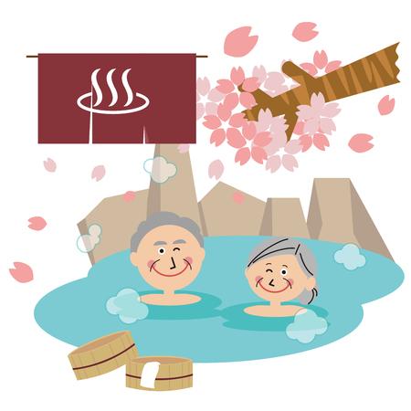 family senior couple open-air bath