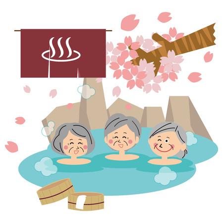 senior woman woman bath open-air bath women's meeting