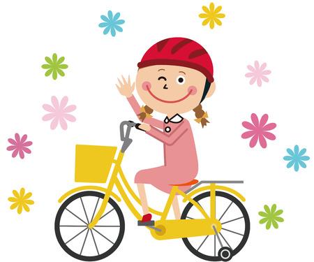 girl on bike debut  イラスト・ベクター素材