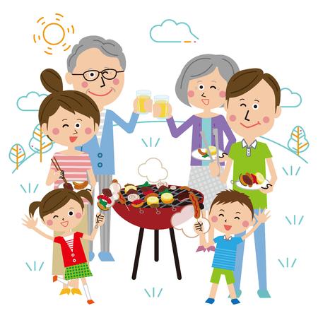 three generation family BBQ, Clear sky Ilustração