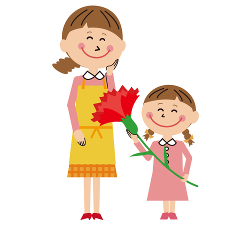 Mothers Day Daughter giving a big carnation Illustration