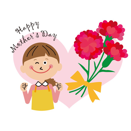 Mothers Day Mom and Carnation and Heart