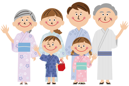 A three-generation family going out with a yukata