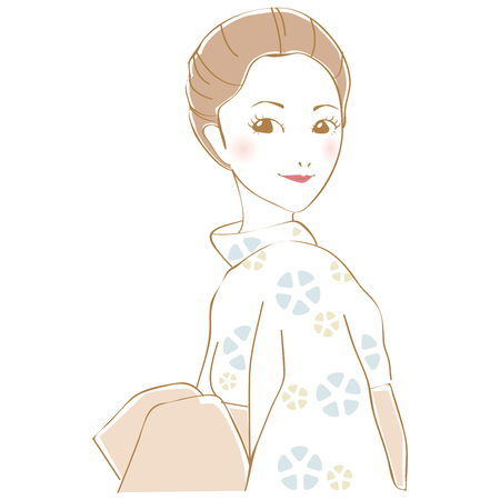 A woman who put on a yukata and gathered up her hair looks back