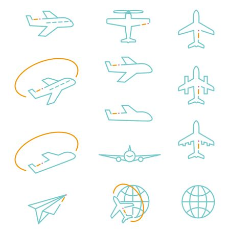 Line drawing icon airplane of 3 colors