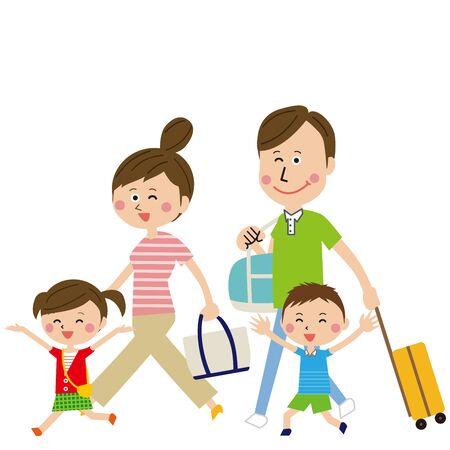 Family trip of pop family only holding hand Ilustração