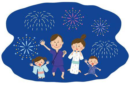 Pop Family Wearing a yukata Jumping cheerfully Fireworks at night Stock Illustratie