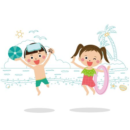 Children 2 boys and girls swimwear and jumps 2 seaside