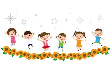 A child jumps well in the sunflower field with six men and women Illusztráció