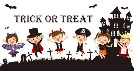 Pop kids wearing Halloween costumes jumping background