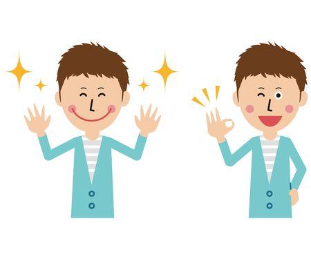 Pop university student 2 joy success pose male upper body Ilustração