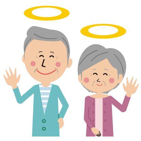 Pop senior couple gently smiling deceased Illustration