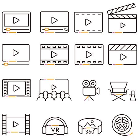 3 color line drawing video icon