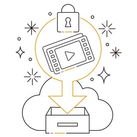 Cloud video security with 3 color line drawings, black tone