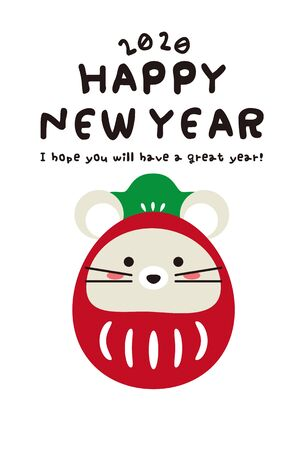 Mouse, New Years card dressed up as Daruma
