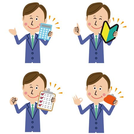 7: 3 pop businessmen with positive pose Ilustrace