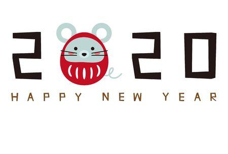 New Years card 2020, Daruma rat 3