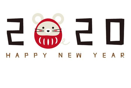 New Years card 2020, Daruma rat 2