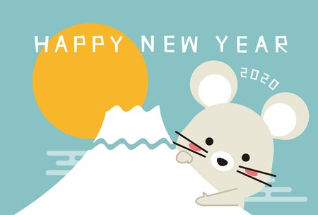 New Years card 2020, A mouse appear from Mt. Fuji, light blue