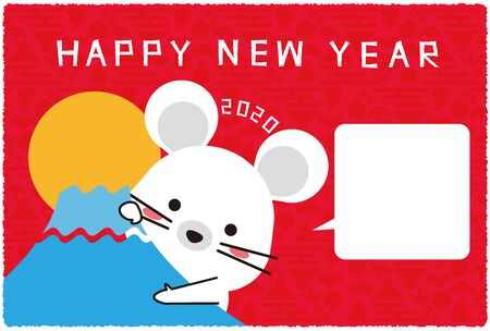 New Years card 2020, A mouse appear from Mt. Fuji, red