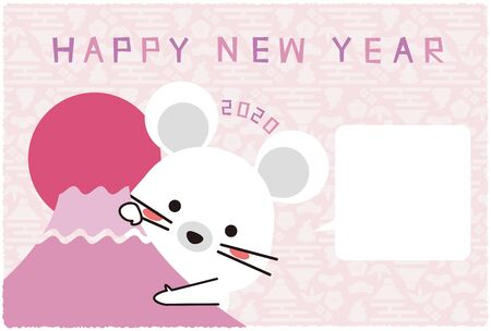 New Years card 2020, A mouse appear from Mt. Fuji, pink