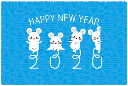 2020 New Years Card Horizontal Tail 2020 blue background