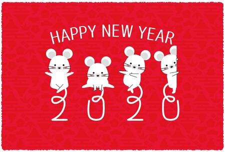 2020 New Years card, red, mouse tail 2020