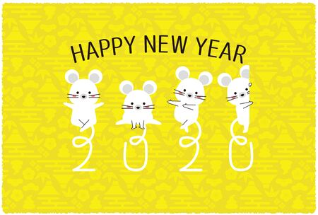 2020 New Years Card Horizontal 2020 with a mouse tail Stock Illustratie
