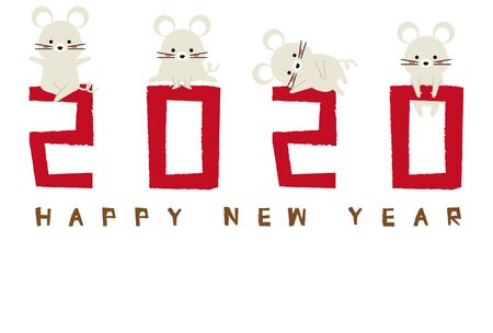 2020 New Years Card New Years Card Template Red White Mouse