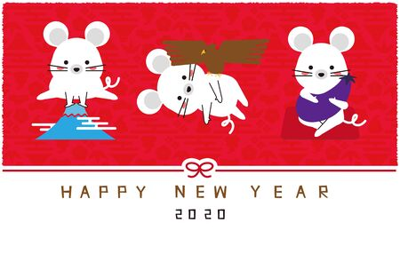 Mouse 1 Fuji 2 Taka 3 Isogo Red Background New Year's Card New Year's Card Card Template Stockfoto - 131667110