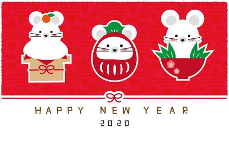 Three Lucky Charms of Mice, Red Background, New Years Card New Years Card Template Stock Illustratie