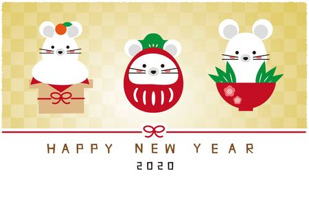 3 Lucky charms New Year's card mouse, bright gold screen, New Year's card 2020 Stockfoto - 131667134