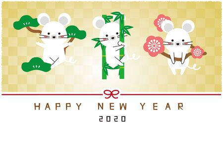 Shochiku plum new years card mouse, bright gold screen, New Years card 2020