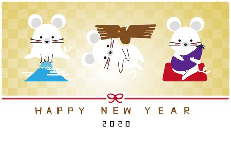 Mouse 1 Fuji 2 hawk 3 lion Golden background New Year's card template Stockfoto - 131667129