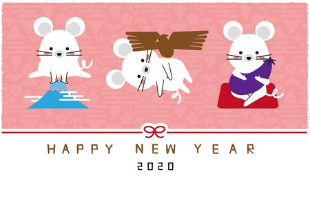 Mouse 1 Fuji 2 Hawk 3 Pink Reiko Background New Years Card Template Stock Illustratie