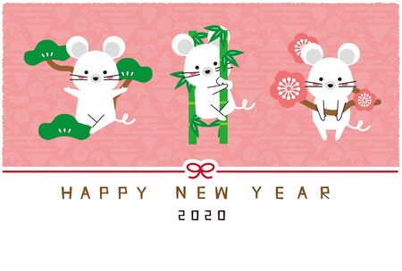 Mouse pine bamboo plum pink background new years card template