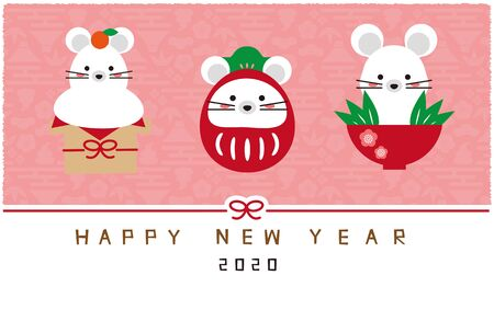Three Mouse Charms, Pink Background, New Years Card Template