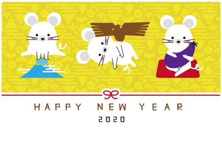 Mouse 1 Fuji 2 hawk 3 lion yellow background New Years card template