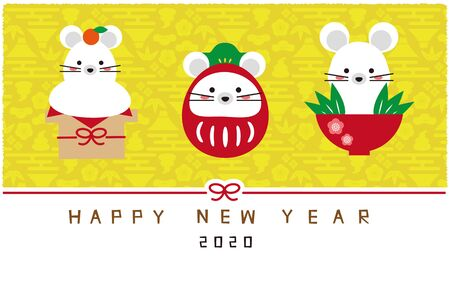 Three Mouse Charms Yellow Background New Years Card Template